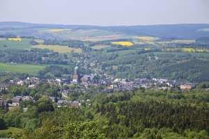 Blick vom Pöhlberg auf Annaberg-Buchholz