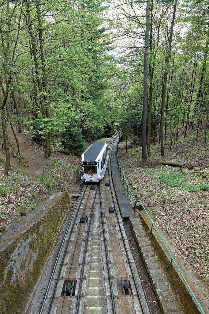 Standseilbahn in Karlsbad zum Aussichtsturm Diana